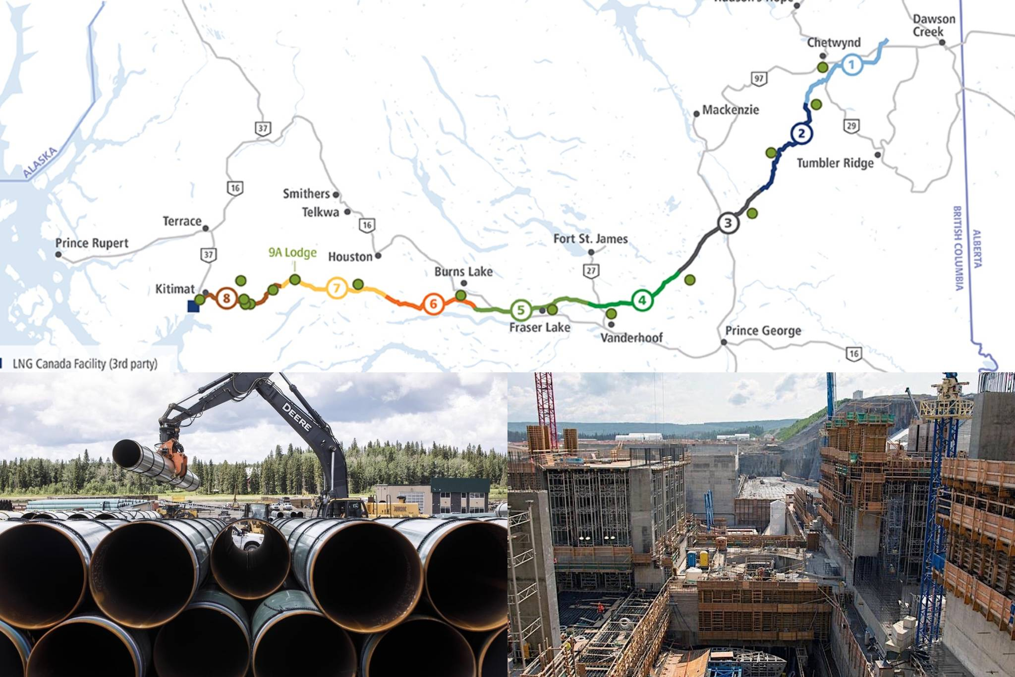 Three major projects have taken centre stage in B.C.: the Coastal GasLink pipeline project (top), the Trans Mountain expansion project (left) and the Site C dam (right). (Black Press Media files)